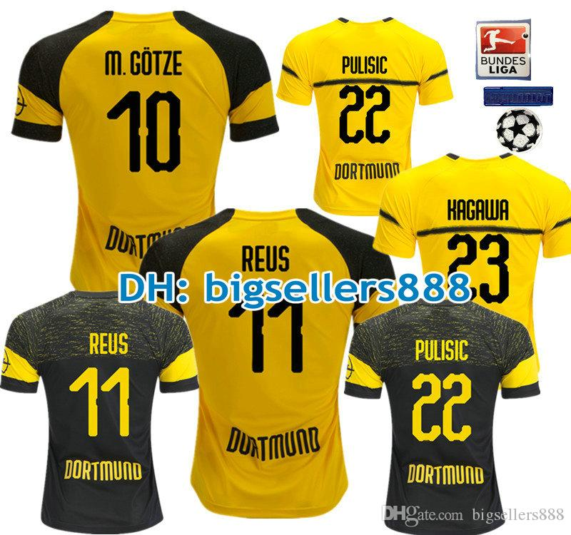 10c4b5842d6 PULISIC 18 19 REUS YARMOLENKO Jersey Home Yellow Soccer TOP QUALITY ...