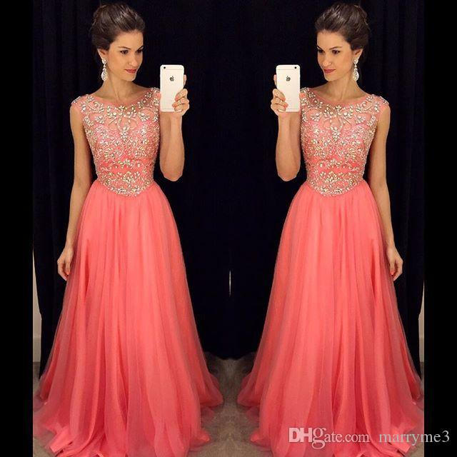 Water Melon Prom Dresses A Line Chiffon Scoop Handmade Crystal Beads Long Evning Dress Formal Dress