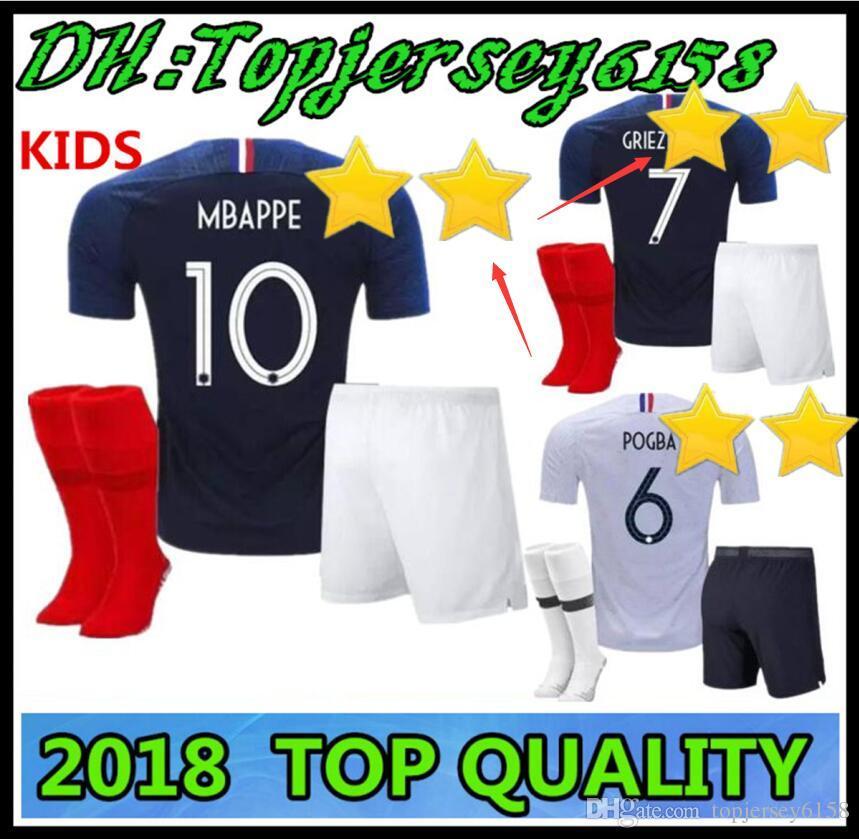 Compre Kit Para Niños Pogba Soccer Jersey 2018 Francia PAYET DEMBELE MBAPPE  GRIEZMANN KANTE Camisetas De Fútbol Para Niños A  16.53 Del Topjersey6158  ... f63d6e3c3f6c6
