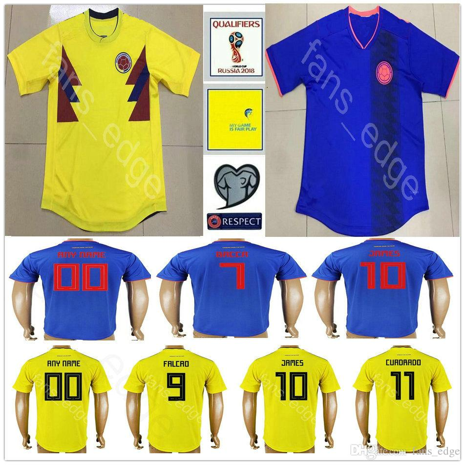 681bac185f8 2019 2018 World Cup Colombia Soccer Jersey 18 PALACIOS 19 HERNANDEZ 20  MORENO GIO 21 CARDONA 22 CASTELLANOS Men Women Youth Kids Football Shirt  From ...