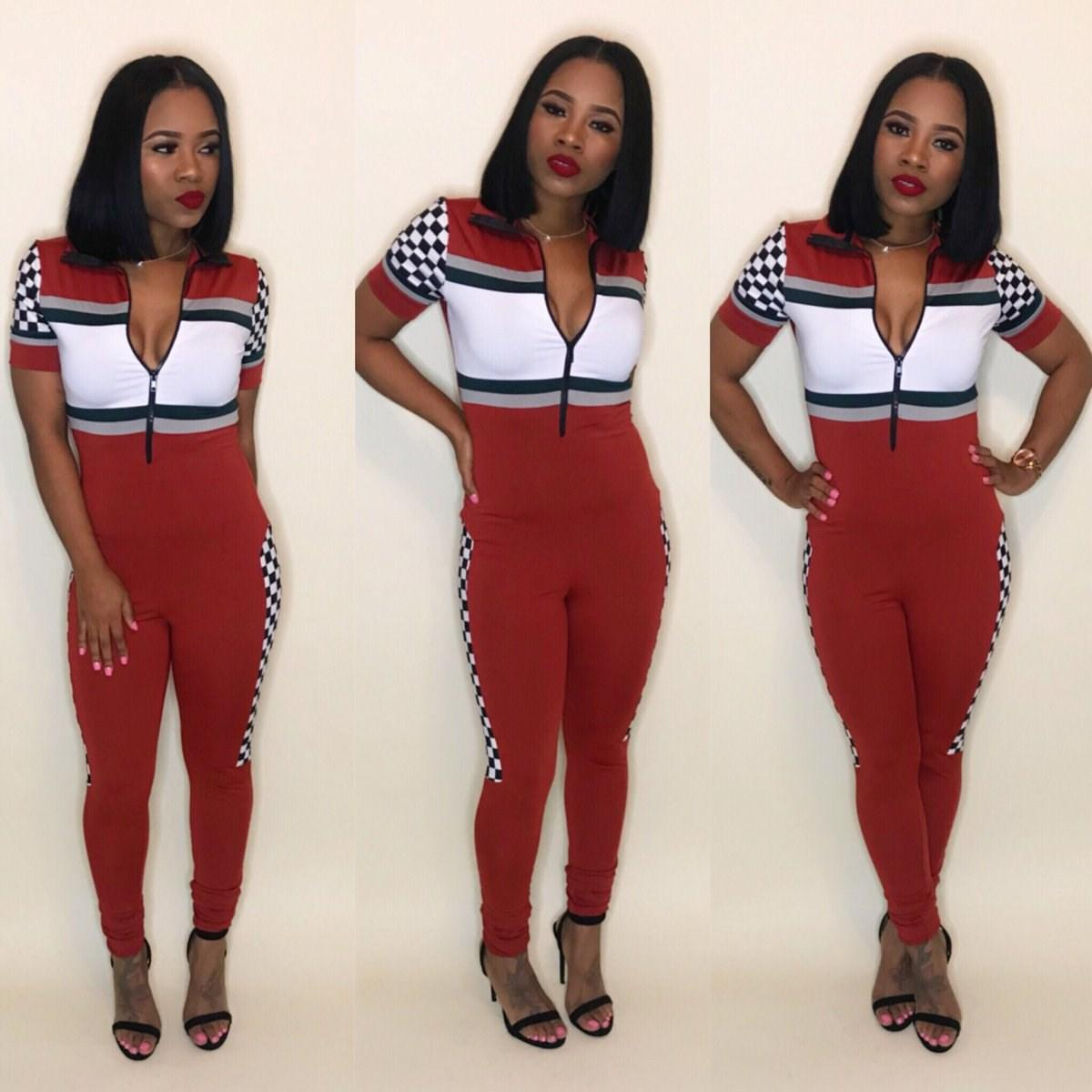 2019 2018 Women Jumpsuits Front Zipper Short Sleeve Women Overalls