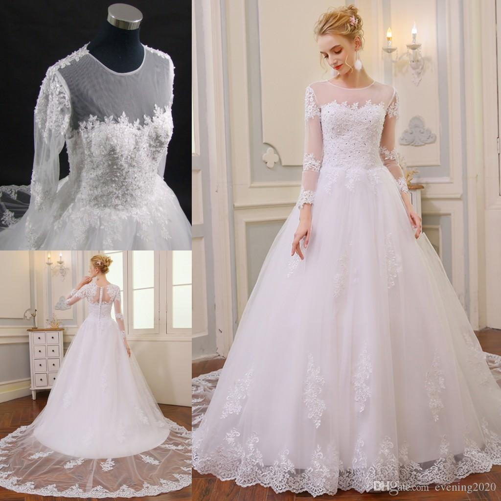Discount Graceful Illusion Bodice Long Sleeve Jewel 2018 A Line Wedding Dresses Lace Applique Bridal With Covered Button Back Gowns: Expensive Lace Wedding Dresses At Websimilar.org