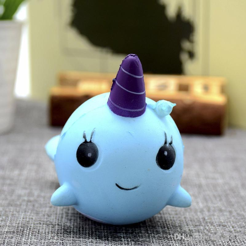 Wholesale Cute unicorn whale Squishy Toy 8cm PU Jumbo slow rising squishy Finger Doll Charm Soft Stress Relief Stretchy Animal Toy DHL Free