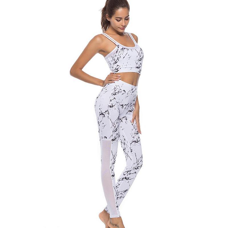 Damen Sport 2 Set Leggings /& Tanktop Crop Top BH Trainingsanzug Gym Yoga Fitness
