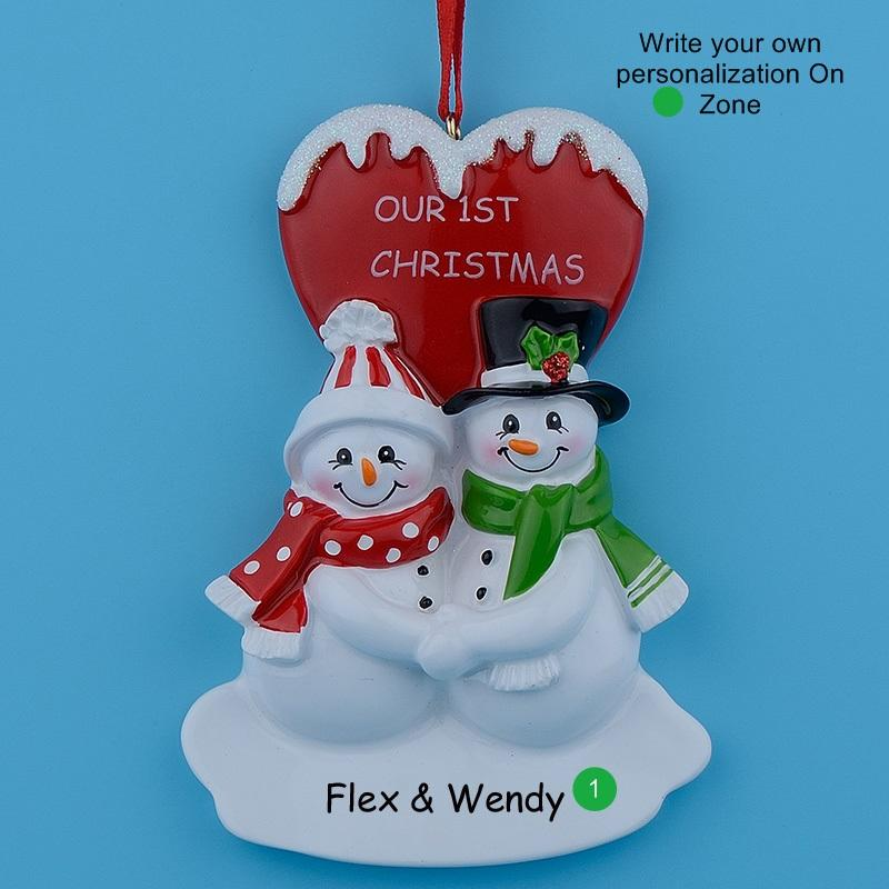 Our First Christmas Couple Snowman Resin Glossy Hang Personalized Christmas Ornaments For Lover Gifts Home Decor