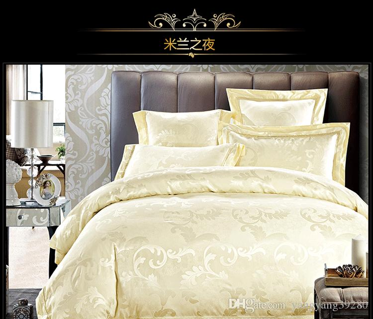 Hot New 2018 jacquard Quilt cover set Queen King Size Bedclothes tencel and Cotton blend Fabric luxuries Beige Bedding sets 220*240cm