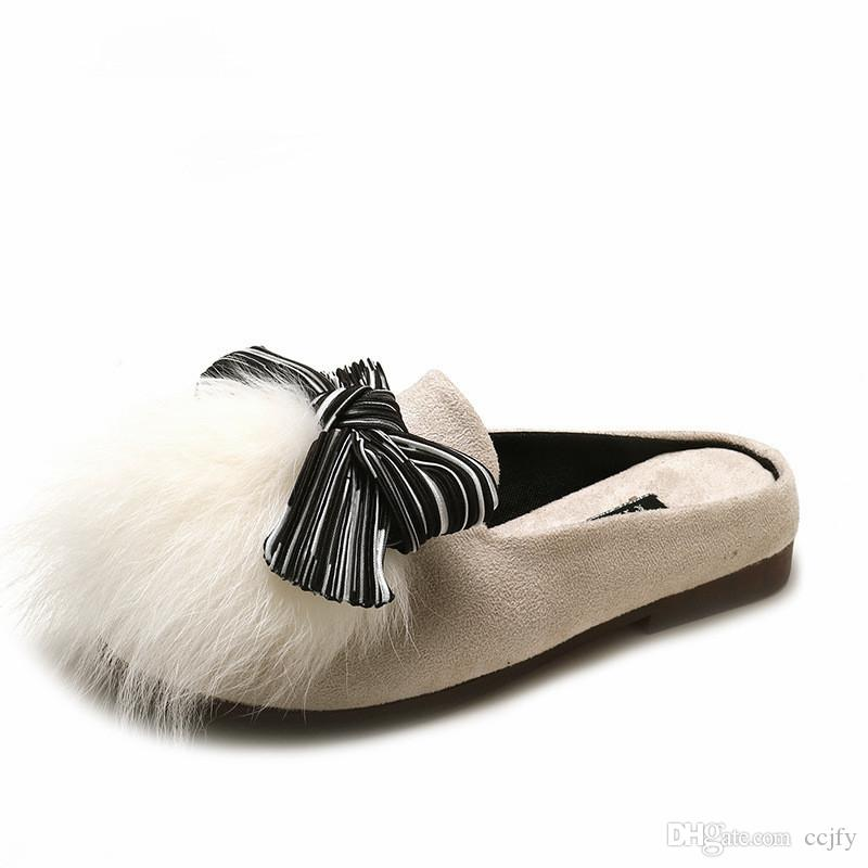 06b0d8c83a70 New Ladies Slippers Winter Warm Low Heel Shoes Artificial Fur Velvet Casual  Non Slip Bow Ladies Casual Shoes Fashion Design Plush Shoes Birkenstock  Cowboy ...