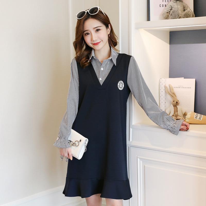 5b91f2f1405 Autumn Korean Fashion Maternity Blouses Dress Elegant Patchwork ...