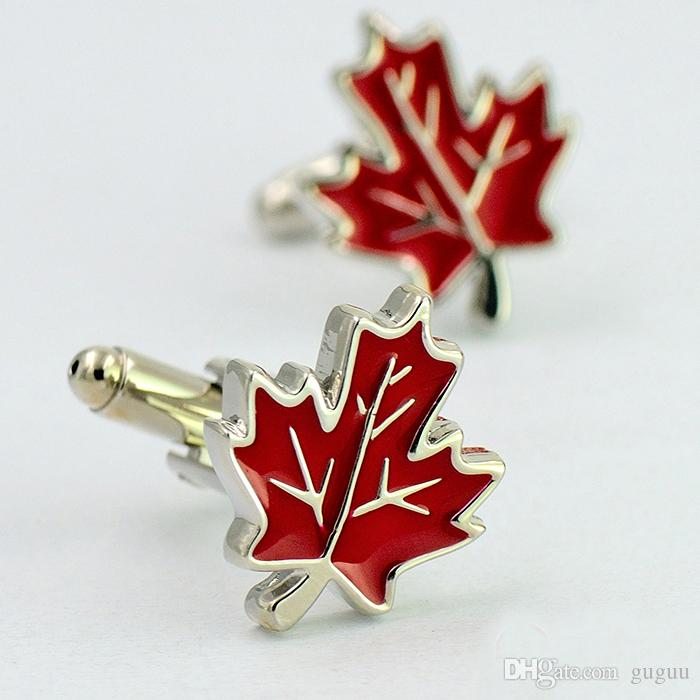 2018 Red Maple Leaf Canada Symbol Elegant Cuff Buttons Speech