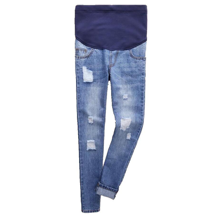 80df0adbb Compre Jeans De Maternidad De Moda Más El Tamaño Del Agujero Pantalones De  Algodón De Mezclilla Ropa De Mujeres Embarazadas Ropa De Embarazo Pantalones  De ...