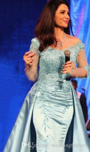 Lichtblauwe moeder van de bruid jurken ronde hals halve mouw kant kralen afneembare satijnen zeemeermin moeders jurken bruiloft gasten jurken