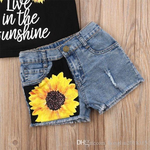 Summer Black Baby Girl Kids Summer Outfits Sleeveless Flower Print Vest Tops Shorts Jeans Pants Clothes Suit Set KA793