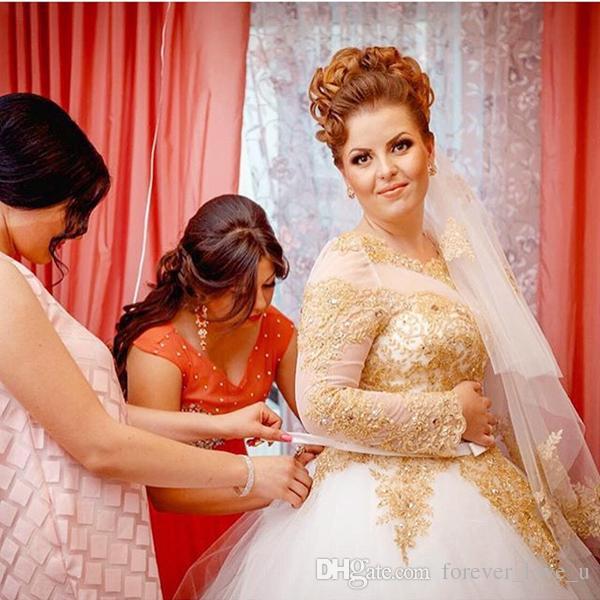 화이트 아이보리 및 골드 웨딩 드레스 공 가운 얇은 목 긴 소매 비즈 크리스탈 레이스 아플리케 푹신한 얇은 명주 그물 레이스 업 뒤로 신부 가운