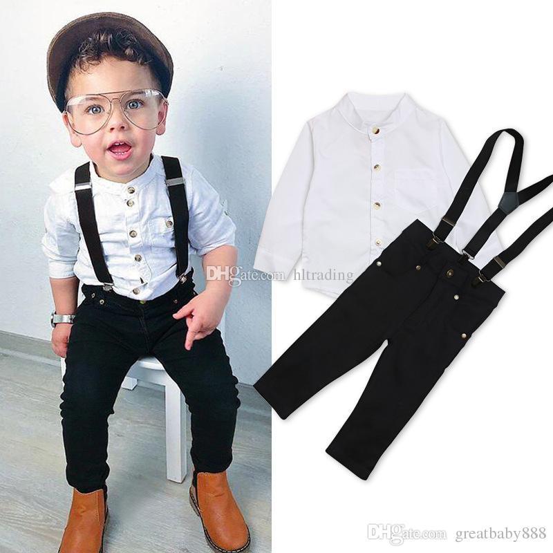 Compre Crianças Meninos Roupas Cavalheiro Bebê Camisa Top + Suspender +  Calças 3 Pçs   Sets Outono Crianças Conjuntos De Roupas 2 Cores C5415 De ... 96b763f015f