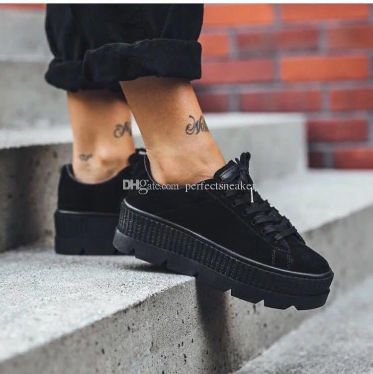 buy online 78c30 a491c 2018 Hot Sale Rihanna Fenty Suede Creepers Women Casual Shoes Sneakers Size  36-39