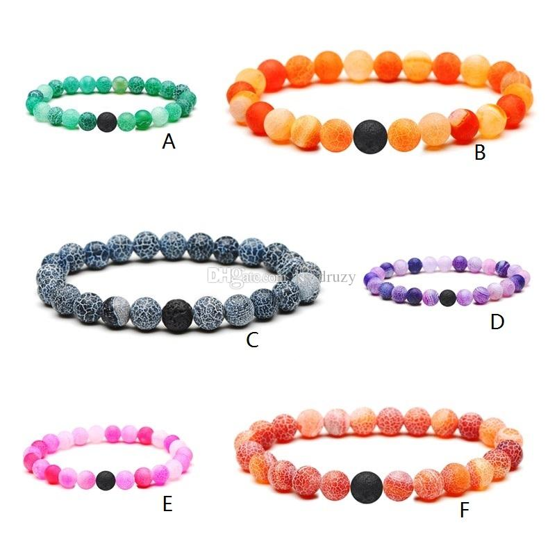 Natural Weathered Agate Onyx Stone Bracelet One Black Lava Stone Essential Oil Diffuser Bracelet Volcanic Rock Beaded Hand Strings