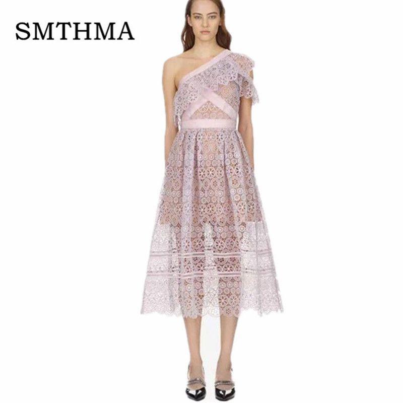 cd6d3d872d5e SMTHMA Self Portrait Summer Runway Purple Women Lace Long Dress 2018 New  Arrive Asymmetrical Neck Chic Dress Vestidos Casual White Lace Dress White  Dress ...