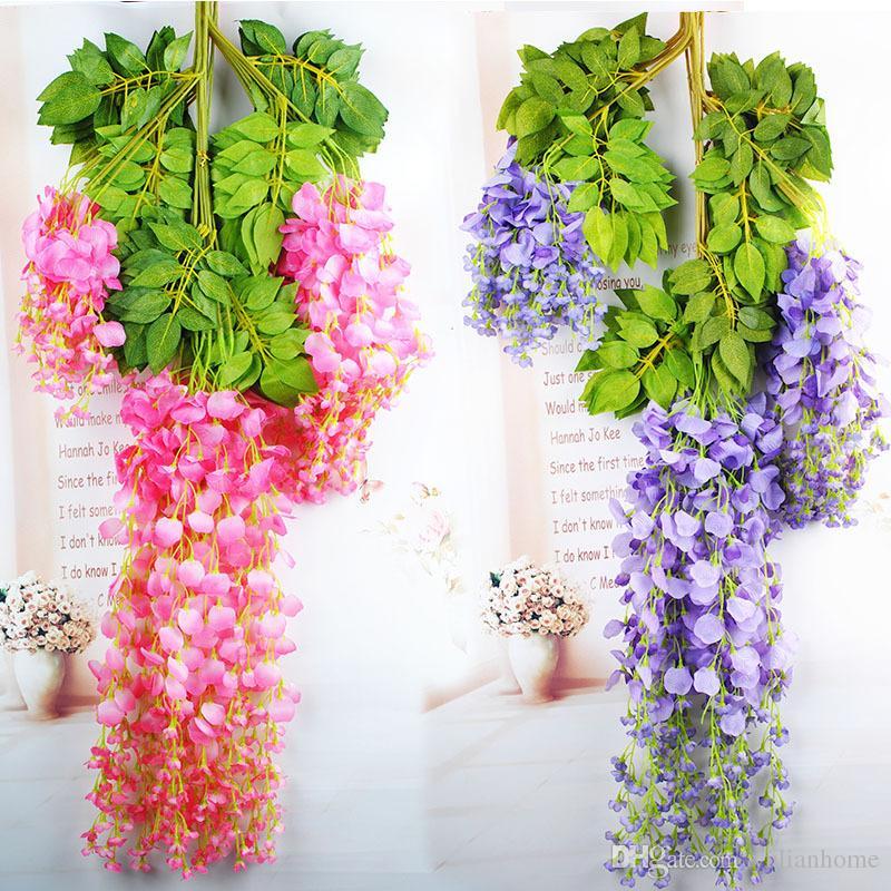 110 cm Yapay Çiçekler Simülasyon Wisteria Çiçek Romantik Düğün Süslemeleri 5 renkler Kamışı Bahçe Kurutulmuş Ipek Çelenkler Çiçekler