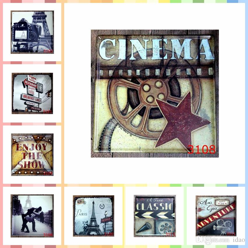 CINEMA Metal Tin Signs 30*30cm Paint Bedroom Wall Decorations Luxury Home  Wall Art Decor Posters 3d Wallpaper Bedroom Wall Decorations Tin Signs 3d  ...