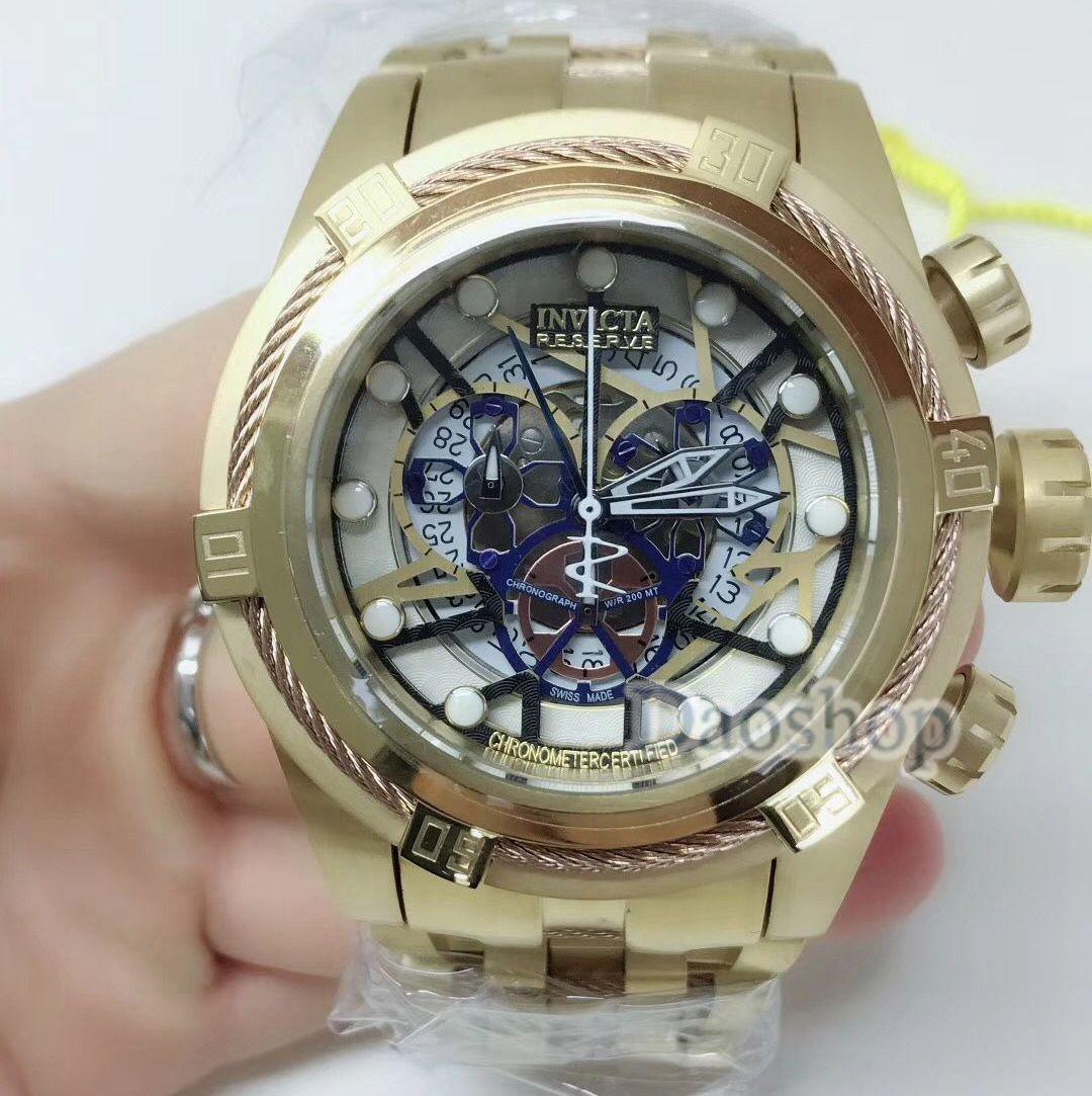 656fd52bdcb Compre Marca De Lujo De Moda INVICTA Reloj De Pulsera De Cuarzo De Alta  Calidad Hombres Reloj De Pulsera De Oro De Acero Inoxidable Relojes  Deportivos De ...