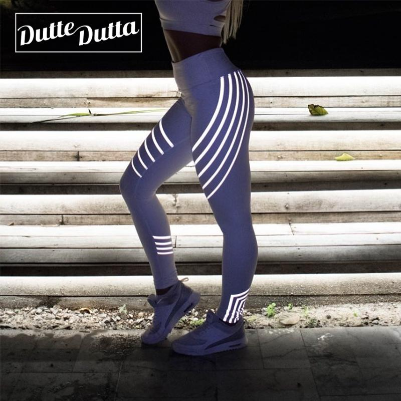 Striped Glow In The Dark Yoga Pants Women's Workout Sport Reflective Leggings For Women Fitness High Waist Gym Tight Leggins