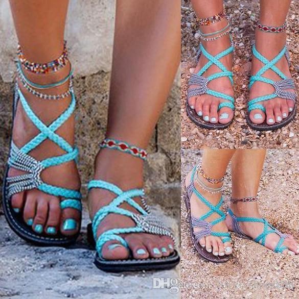 Sexy envío gratis cuerda nudo clip-toe sandalias planas rojo verde negro color tamaño 35-44 sandalias de mujer 464