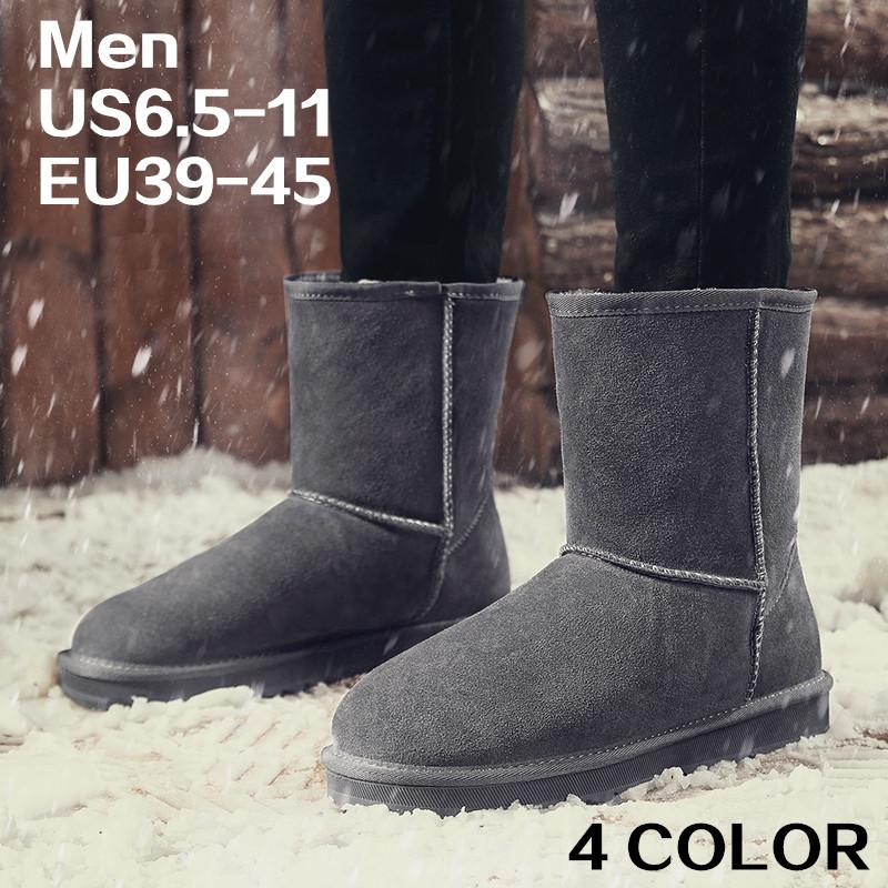 100% authentic huge sale a few days away Waterproof Winter Snow Boots Mid Length Suede Leather Anti-Slippy EVA Sole  Winter Warm Men Shoes with Fur Classic Half Short II Boot