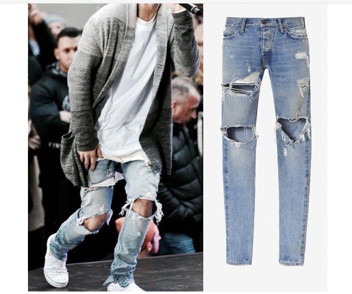 ae29658786 Mens Ripped Skinny Straight Slim Elastic Denim Fit Biker Jeans Pants ...
