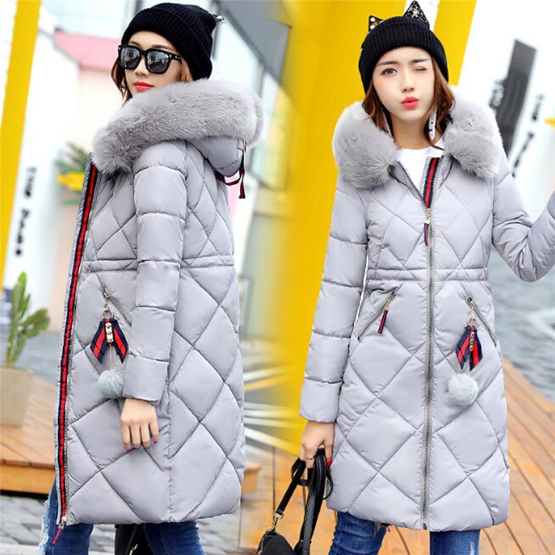 d197f83dc09b Fur Winter Coat Thickened Parka Women Stitching Slim Long Winter ...