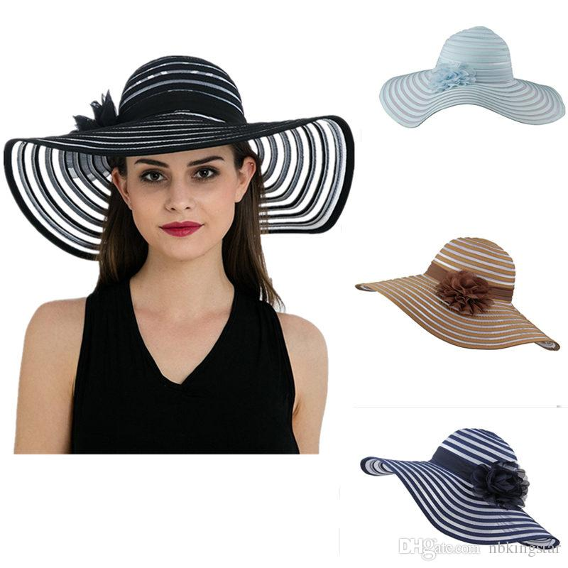 Summer Organza Floppy Beach Hats For Women Wide Brim Striped Flat Hats  Ladies Flower Sun Beach Cap Floppy Hat Kangol Hats From Nbkingstar 035c4c653d2