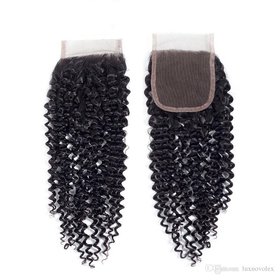 8A Indian Curly Hair 3 Bundles with Closure Unprocessed Malaysian Brazilian Peruvian Kinky Curly Human Hair Weave Bundles with Closure
