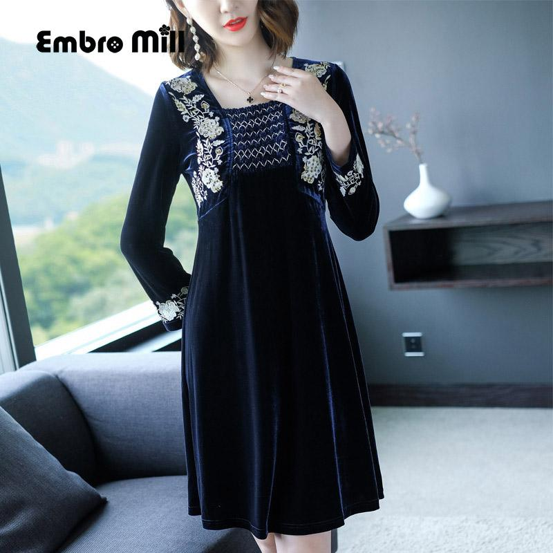 2019 Chinese Traditional Clothing Women Blue Velvet Dress Winter Vintage  Floral Embroidery Elegant Lady Beautiful Party Dress M 4XL From Xiatian6 464733658ac9