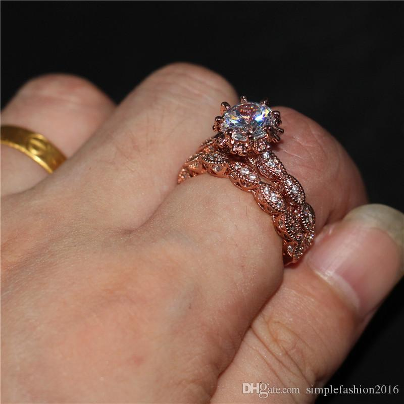 Vintage Women Round cut 3ct Diamonique Cz Rings Rose gold Filled & 925 Sterling silver Flower wedding Band ring set for women