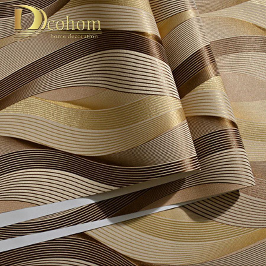 Grosshandel Mode Pvc Schwarz Weiss Silber Striped Tapete 3d Moderne