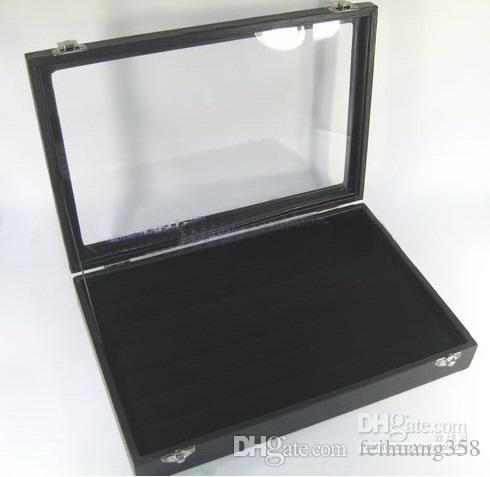 Black Velvet RING / 56 Clip Pendant Charm Jewelry Display Glass Top Countertop Case Box 2 style selection