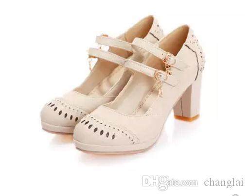 2017 spring and autumn new female low shoes with heels Shuangkou round thick shallow mouth size