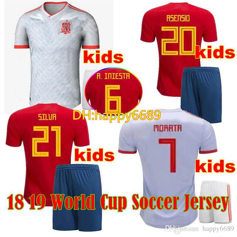 Compre Kids España Jersey 2018 Fútbol Equipo Nacional Home Koke Espana  Niños Camiseta De Futbol Away Asensio Isco Morata Footbal Shirt España  Conjuntos A ... 075b66ed4be0d