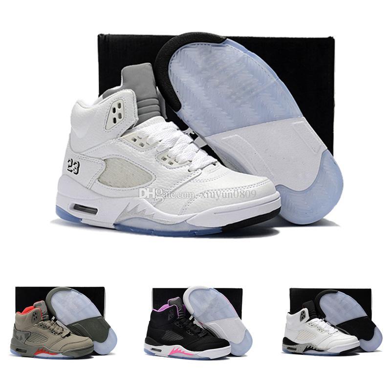 pretty nice 6c725 61e68 Acquista Nike Air Jordan 5 11 12 Retro Con Scatola Nuovo All ingrosso 5 Blu  Pelle Scamosciata Rosso Bambini Scarpe Da Basket Bambino V 5 S Sneakers  Bambini ...
