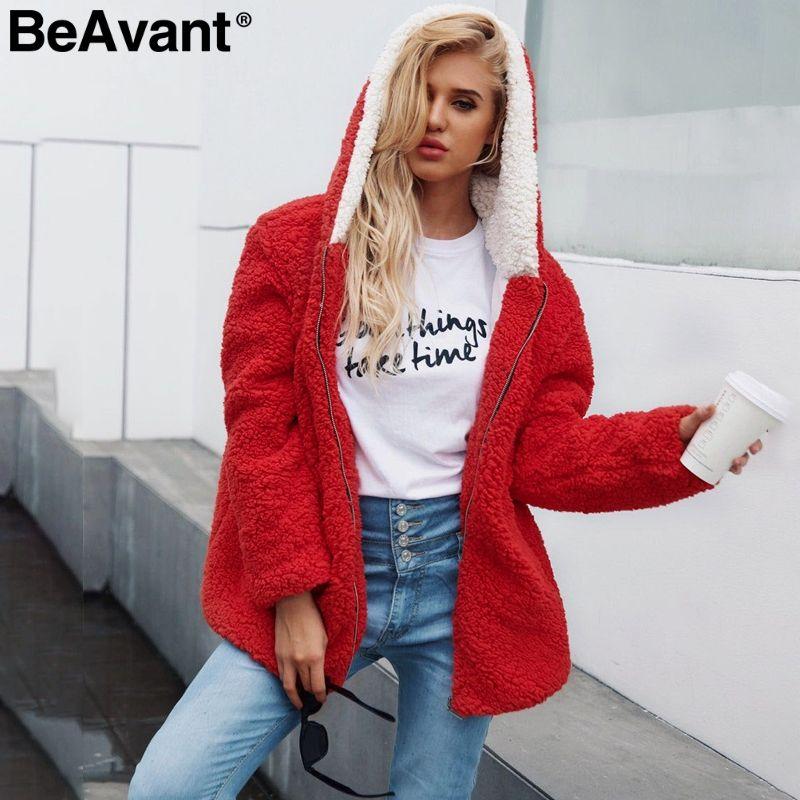 c46d03efaed BeAvant Hooded Faux Fur Coat Women 2018 Causal Teddy Bear Jacket ...