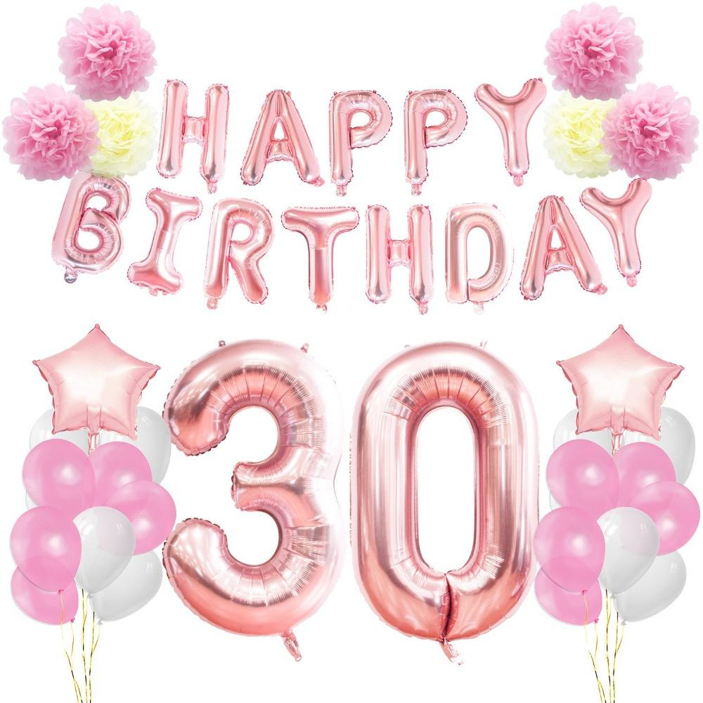 30th 40th 50th 60th Birthday Party Decoration Set Banner Letter BalloonsAmp Foil Numer Balloons Paper Flowers For Girls UK 2019 From Youergarden