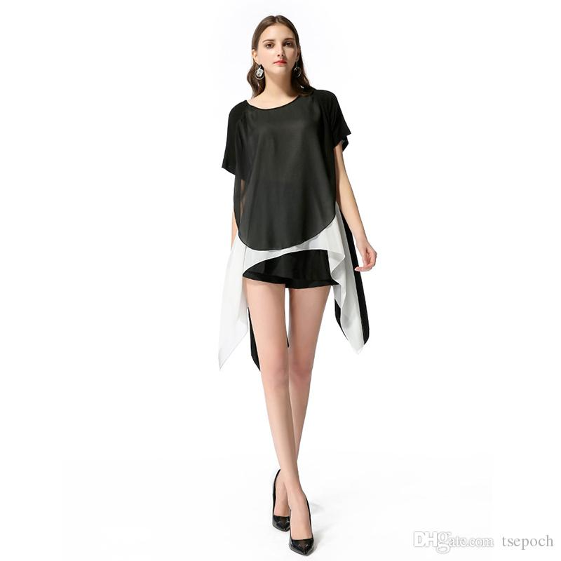 71ca2b5baa Ladies Color Block Casual Mini Dresses New Summer Style Black White  Patchwork Crew Neck Short Sleeve Shift Dress Online with  14.52 Piece on  Tsepoch s Store ...