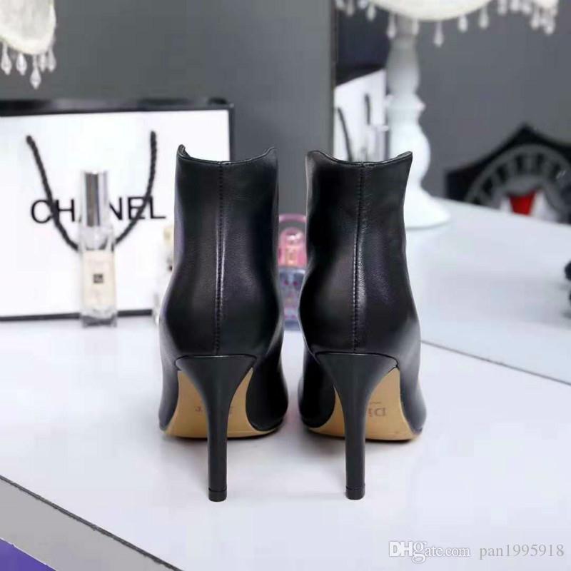 3902503794 Compre 2018 Nova Apontou Sapatos De Salto Alto Das Mulheres Moda Zíper  Frontal Business Casual Sapatos De Couro Botas De Moda Selvagem De  Pan1995918