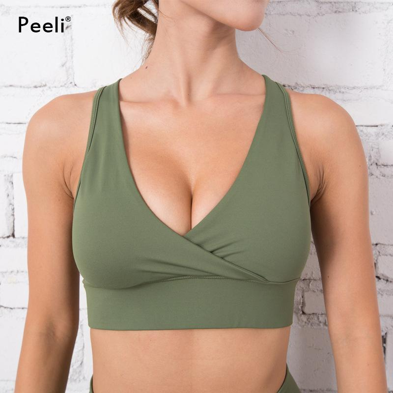 0482b54c6d440 2019 Peeli High Support Sports Bra Top Gym Running Push Up Brassiere Sport  Woman Fitness Seamless Yoga Bra Padded Workout Underwear From Booni