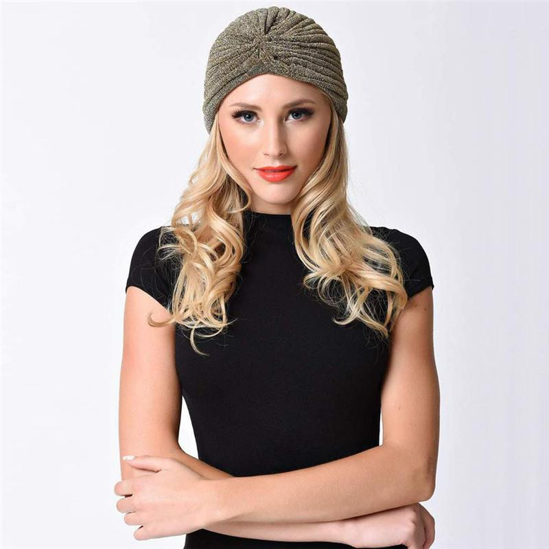 0985fed1ffb New Women Bling Silver Gold Knot Twist Turban Headbands Cap Autumn Winter  Warm Headwear Casual Streetwear Female Indian Hats Baseball Caps Snapback  Hats ...