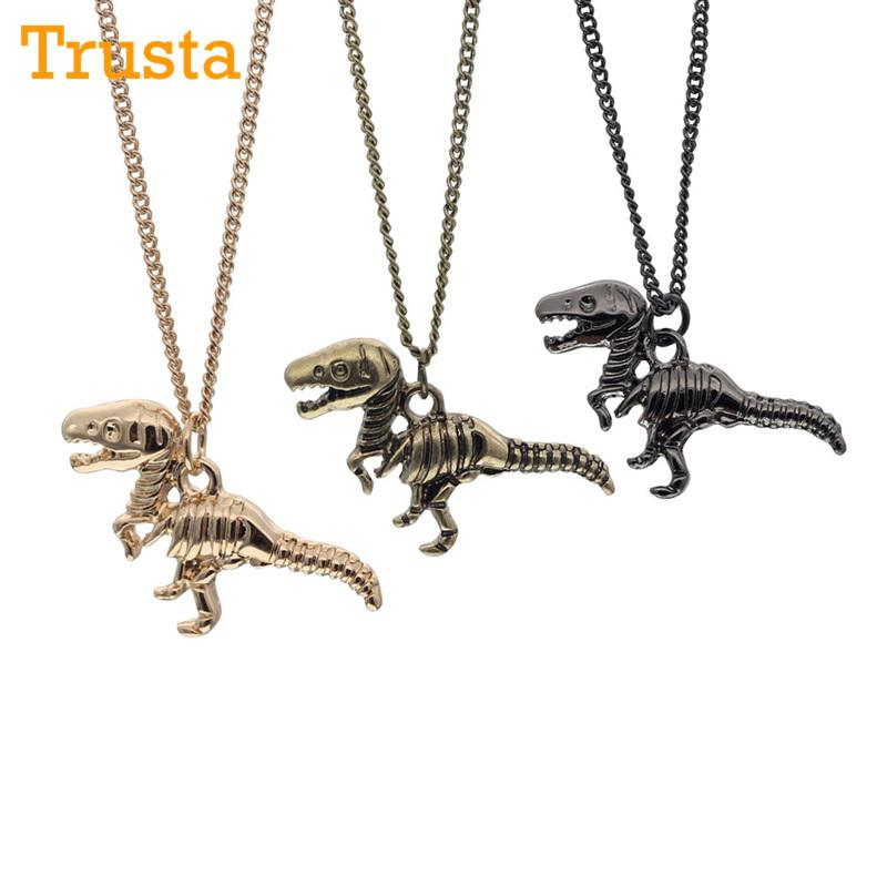 14k White Gold Dino The Dinosaur Pendant With Necklace Jewelry