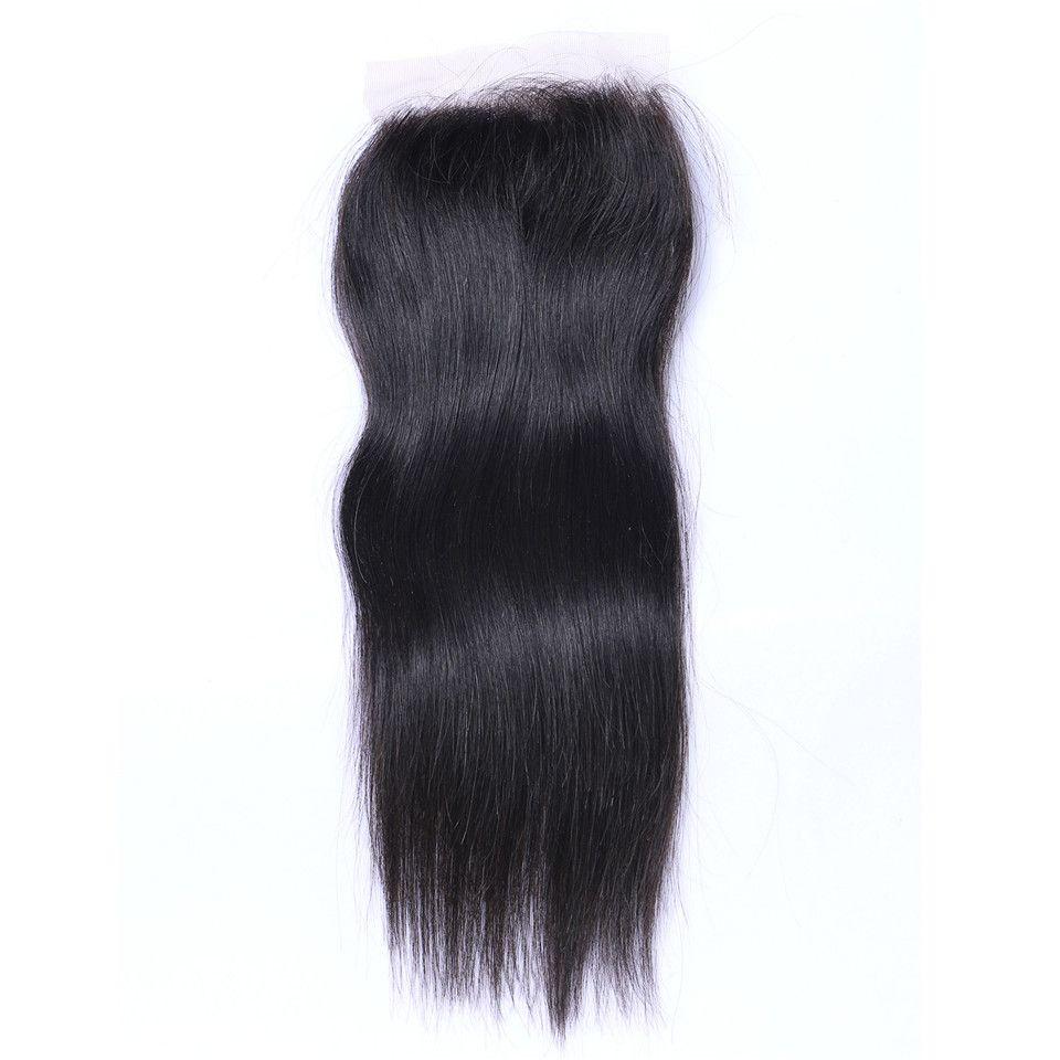 8a brasilianische körperwelle reines haar spinnt mit 4x4 lace closure unverarbeitete remy menschenhaar spinnt doppelschuss natürliche schwarze farbe 4 teile / los