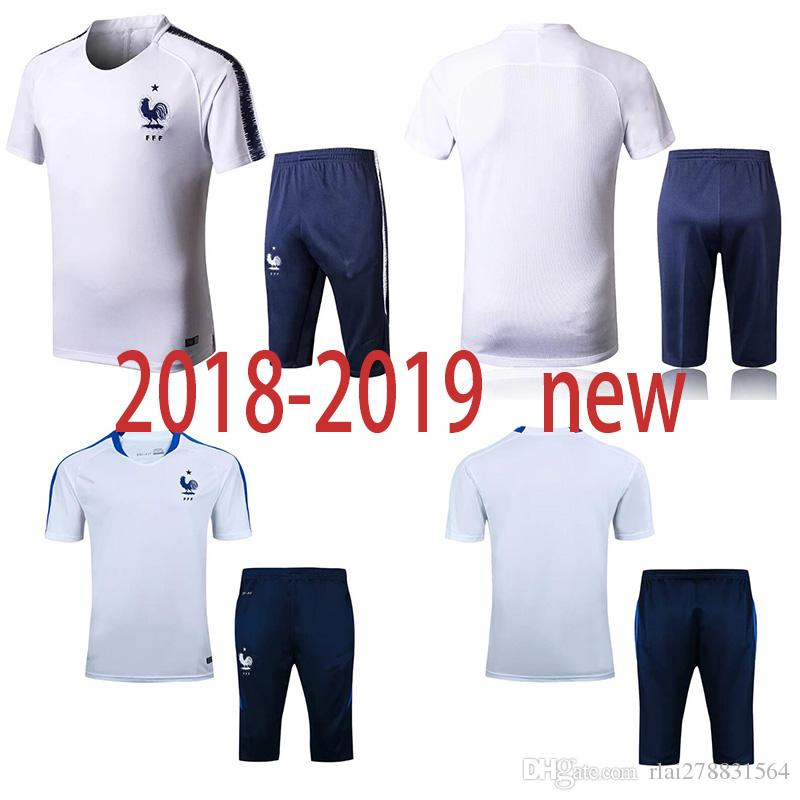 watch 10a01 28358 France 2018 World Cup tracksuit soccer jersey Training suit soccer wear  short slevees 3/4 pants 2018-2019 GRIEZMANN POGBA football shirt