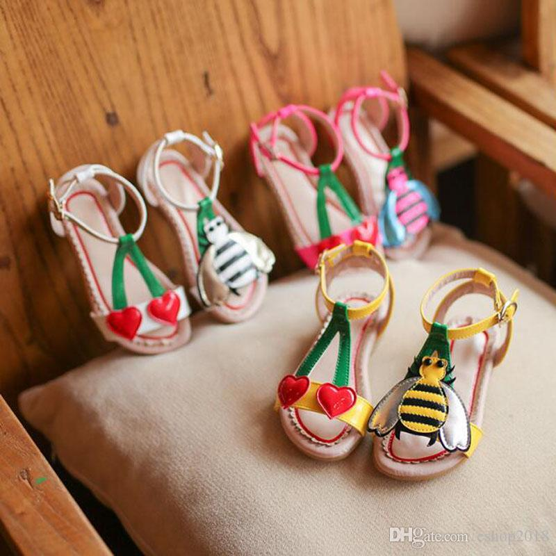 Cute Little Bee Girls Sandals Kids Summer Baby Girls Sandals Shoes Skidproof Toddlers Children Kids Flower Shoes Size 21-30