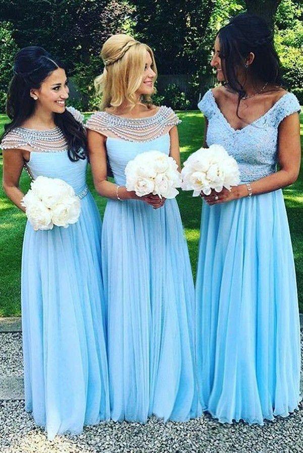 Zwei Stil eine Linie lange Brautjungfer Kleider 2018 neue Tull Perlen Backless Scoop Neck ärmellose formale Abend Party Kleid Prom Kleid plus Größe