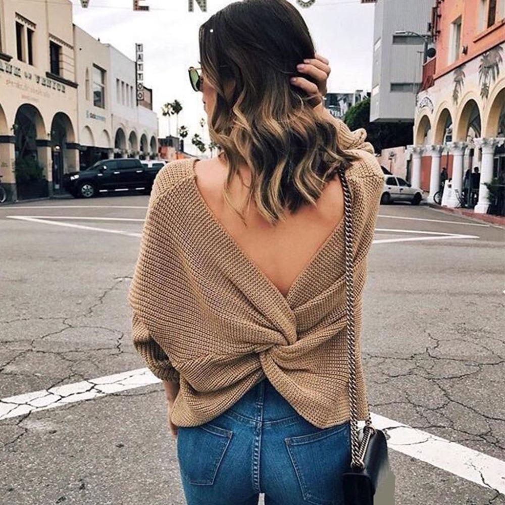 b04d56cd7d83ce 2019 Women Sexy Deep V Neck Twisted Back Sweater Pullover Long Sleeve Knit  Jumper Top From Chikui
